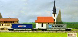 Set de 2 vagoane CFR Marfa tip Sgns cu numere diferite, incarcate cu containere Maersk si CMA CGM