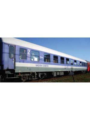 Vagon cuseta Ex. DB, tip Bcm, CFR, versiunea albastra, cu ramele geamurilor albastre