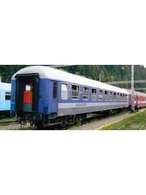 Vagon cuseta Ex. DB, tip Bcm, CFR, versiunea albastra, cu ramele geamurilor gri