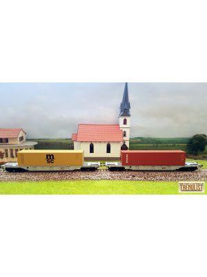 Set de 2 vagoane platforma CFR Marfa tip Sgns, cu numere diferite, incarcate cu containere de 40, MSC si TRITON