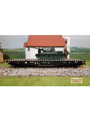 Vagon platforma 6 osii tip NTIISDFF, CFR, incarcat cu tanc T34