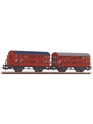 Set de 2 vagoane transport animale cu și fără cabină de frână, DR
